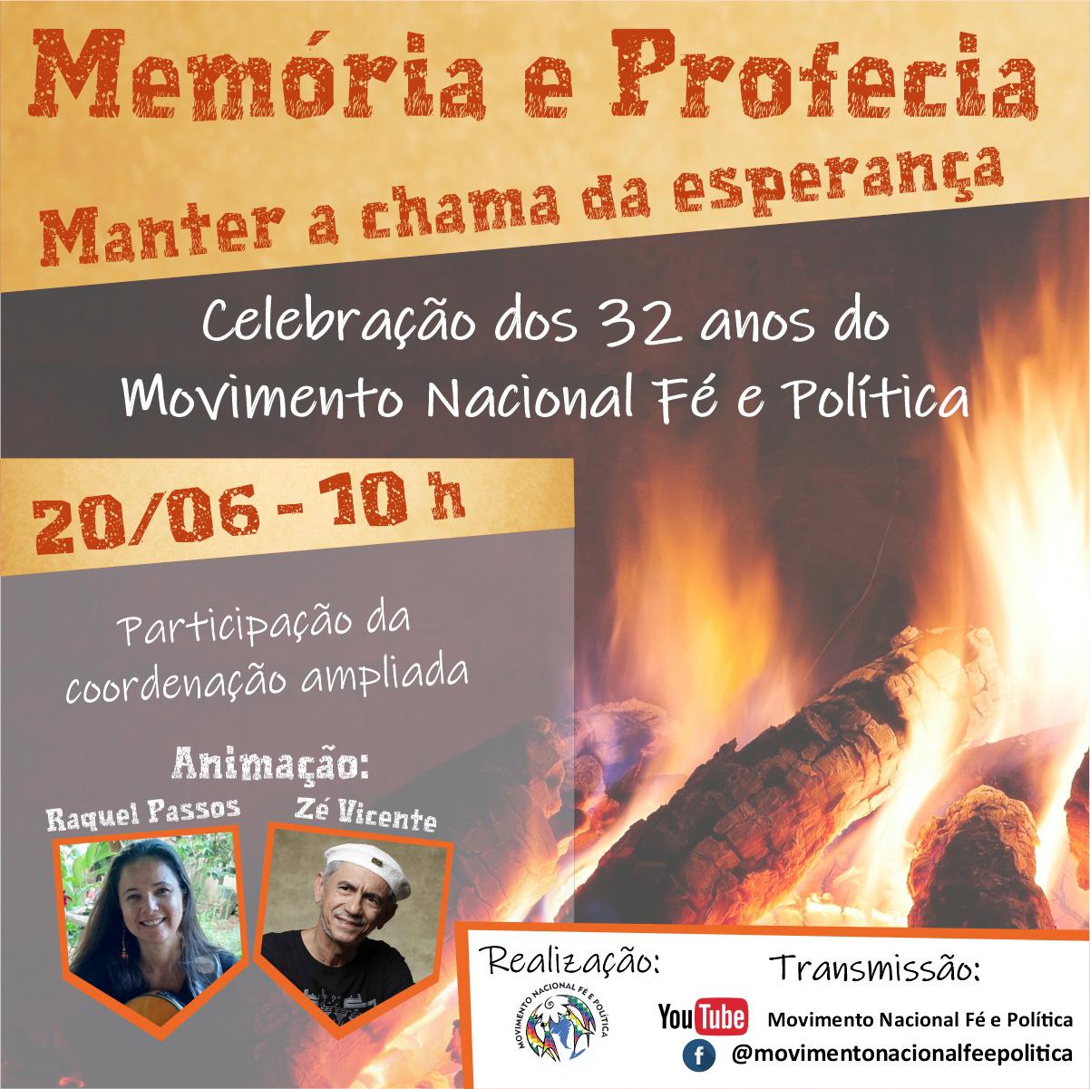 Celebração on-line dia 20 de junho marcará os 32 anos de caminhada do Movimento Nacional Fé e Política