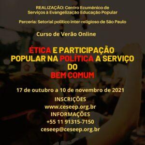 CESEEP promove curso sobre Ética e Participação Popular